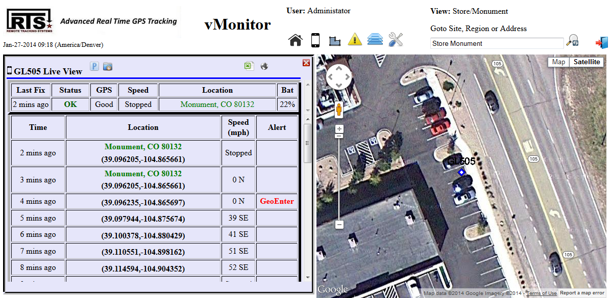 vMonitor Live View Screen